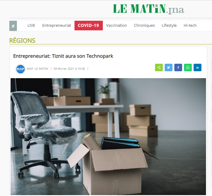 مقال حول التيكنوبارك على جريدة Le Matin